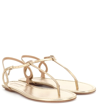 Aquazzura - Almost Bare metallic leather sandals - mytheresa.com