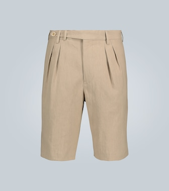 Brunello Cucinelli - Double-pleated linen shorts - mytheresa.com