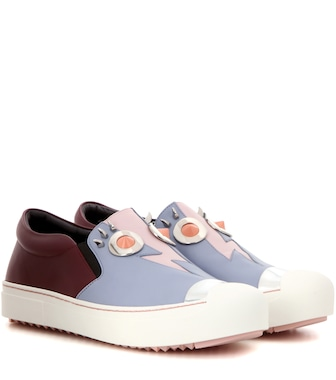 Fendi - Embellished leather sneakers - mytheresa.com