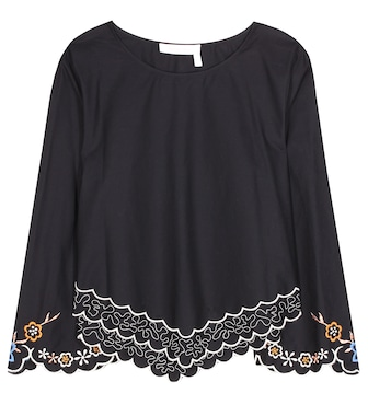 See By Chloé - Embroidered cotton blouse - mytheresa.com