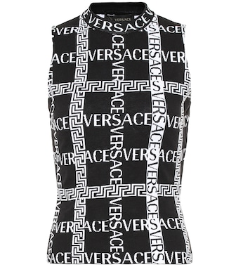 Versace - Logo stretch-cotton sleeveless top - mytheresa.com