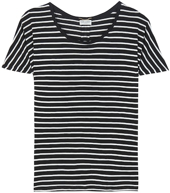 Saint Laurent - Striped silk T-shirt - mytheresa.com