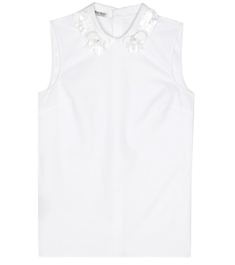 Miu Miu - Exclusive to mytheresa.com – sleeveless embellished cotton top - mytheresa.com