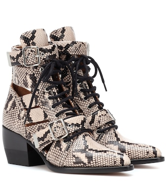 Chloé - Rylee snake-embossed leather ankle boots - mytheresa.com