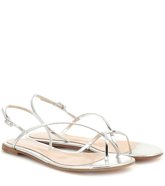 Gianvito Rossi - Metallic leather sandals - mytheresa.com