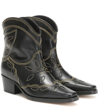 Ganni - Low Texas leather cowboy boots - mytheresa.com
