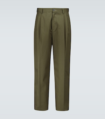 LOEWE - Double-pleated cotton pants - mytheresa.com