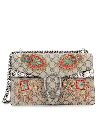 Gucci - Dionysus GG Supreme Small coated canvas and suede shoulder bag - mytheresa.com