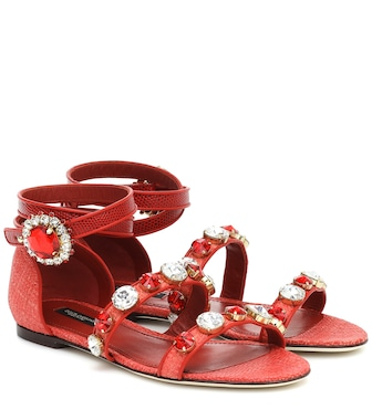 Dolce & Gabbana - Embellished leather sandals - mytheresa.com