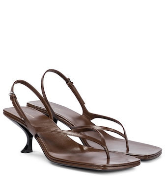 The Row - Constance leather thong sandals - mytheresa.com
