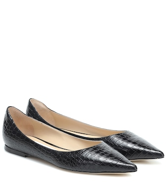 Jimmy Choo - Love croc-effect leather ballet flats - mytheresa.com