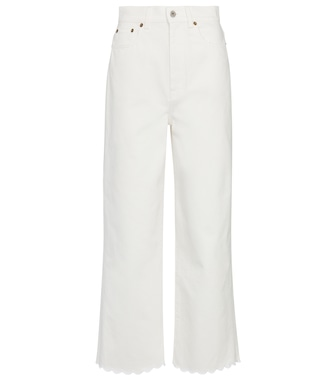 Miu Miu - High-rise wide-leg cotton jeans - mytheresa.com