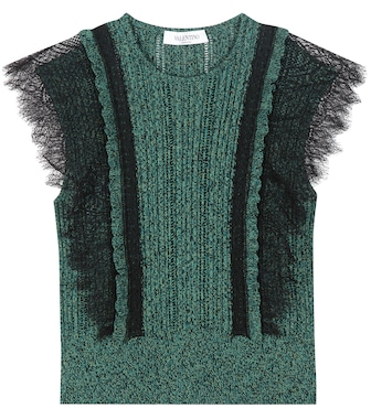 Valentino - Cotton sweater with lace - mytheresa.com