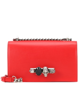 Alexander McQueen - Embellished leather shoulder bag - mytheresa.com