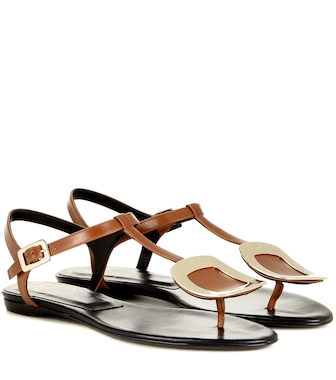 Roger Vivier - Thong Chips embellished leather sandals - mytheresa.com