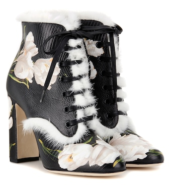 Dolce & Gabbana - Fur-trimmed printed leather ankle boots - mytheresa.com