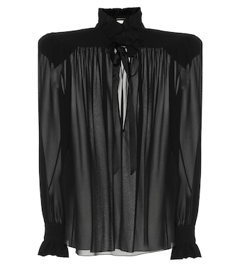 Saint Laurent - Silk-georgette blouse - mytheresa.com