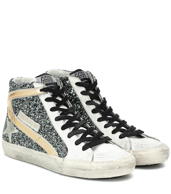 Golden Goose - Exclusive to Mytheresa – Slide glitter sneakers - mytheresa.com