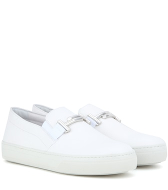 Tod's - Double T leather slip-on sneakers - mytheresa.com