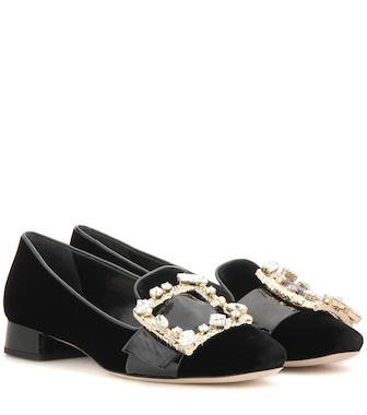 Miu Miu - Crystal-embellished velvet and patent leather pumps - mytheresa.com