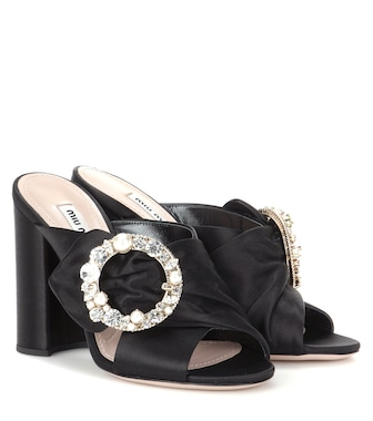 Miu Miu - Crystal-embellished satin sandals - mytheresa.com