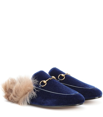 Gucci - Princetown fur-lined velvet slippers - mytheresa.com
