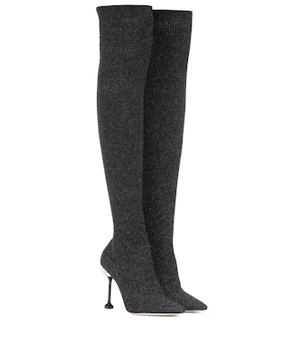 Miu Miu - Ribbed knit over-the-knee boots - mytheresa.com