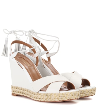 Aquazzura - Paraty leather wedge espadrilles 105 - mytheresa.com