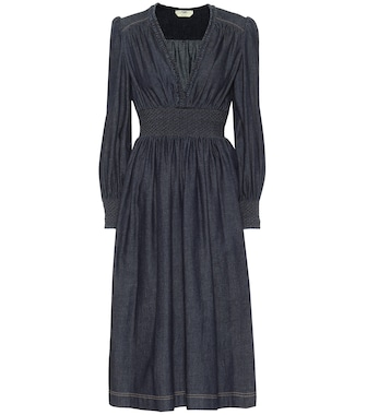Fendi - Cotton-chambray midi dress - mytheresa.com