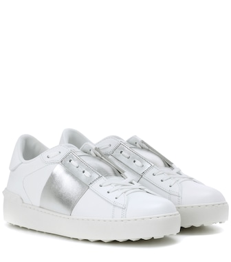 Valentino - Valentino Garavani Open metallic leather sneakers - mytheresa.com