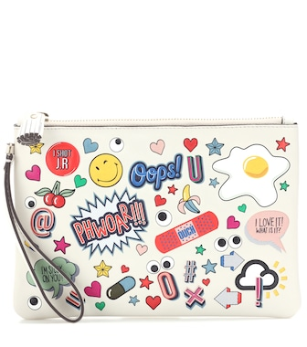 Anya Hindmarch - All Over Stickers leather pouch - mytheresa.com