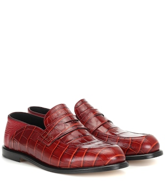 Loewe - Croc-effect leather loafers - mytheresa.com