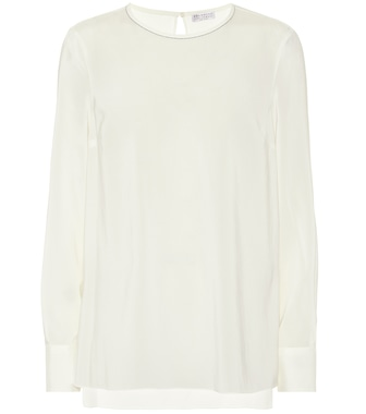 Brunello Cucinelli - Embellished stretch-silk blouse - mytheresa.com