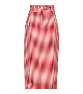Miu Miu - Houndstooth virgin wool pencil skirt - mytheresa.com