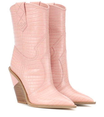 Fendi - Embossed leather cowboy boots - mytheresa.com