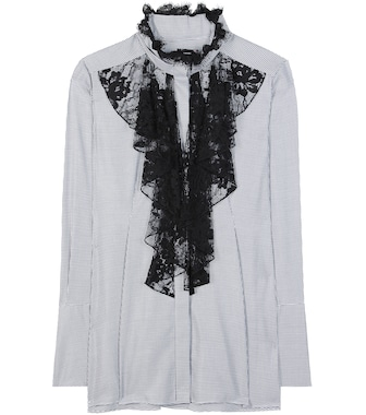 Lanvin - Lace-trimmed cotton blouse - mytheresa.com