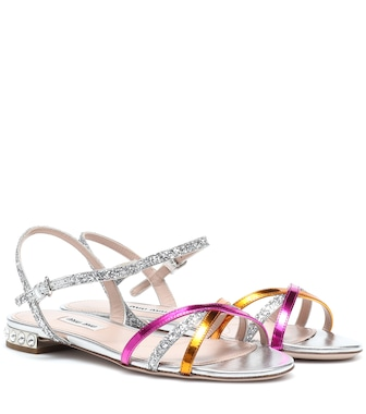 Miu Miu - Leather-trimmed sandals - mytheresa.com