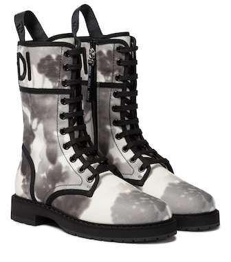Fendi - Signature canvas combat boots - mytheresa.com