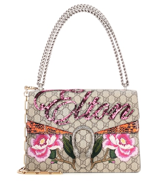 Gucci - Dionysus medium canvas and snakeskin bag - mytheresa.com