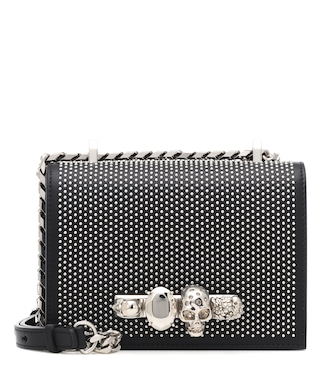 Alexander McQueen - Skull studded leather shoulder bag - mytheresa.com