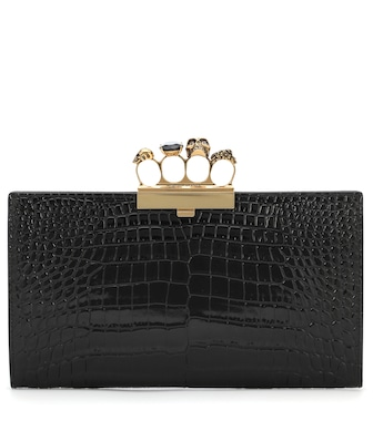 Alexander McQueen - Four Ring Small croc-effect leather clutch - mytheresa.com