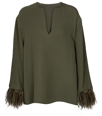 Valentino / Garavani - Valentino feather-trimmed silk blouse - mytheresa.com