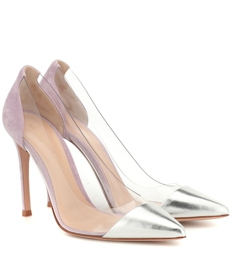 Gianvito Rossi - Plexi suede and leather pumps - mytheresa.com