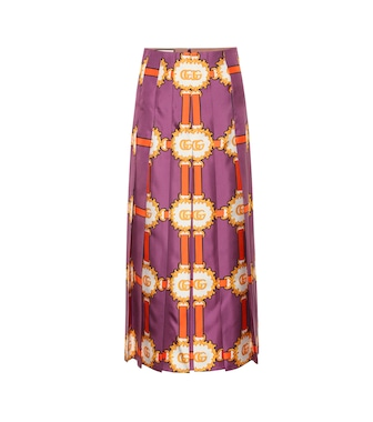 Gucci - Printed silk-satin midi skirt - mytheresa.com