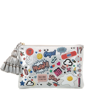 Anya Hindmarch - All Over Stickers Georgiana metallic leather clutch - mytheresa.com