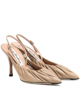 Acne Studios - Leather slingback pumps - mytheresa.com