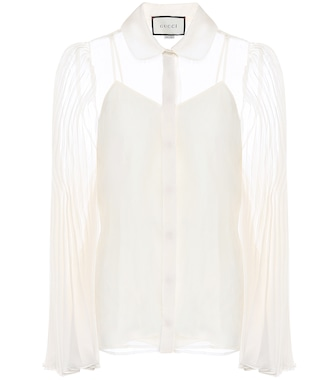 Gucci - Pleated silk-blend organdy shirt - mytheresa.com