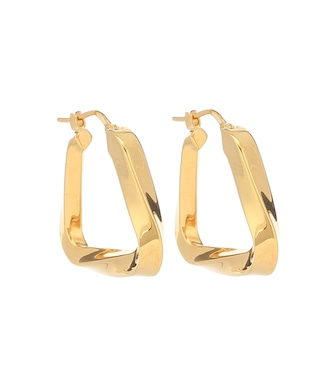 Bottega Veneta - Gold-plated twisted hoop earrings - mytheresa.com