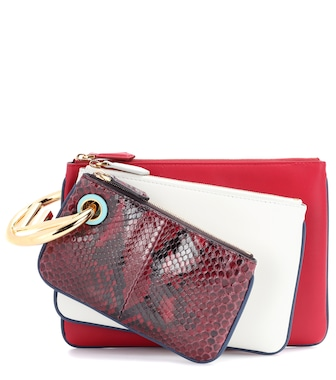Fendi - Triplette leather clutch - mytheresa.com