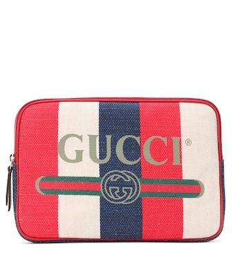 Gucci - Striped linen pouch - mytheresa.com